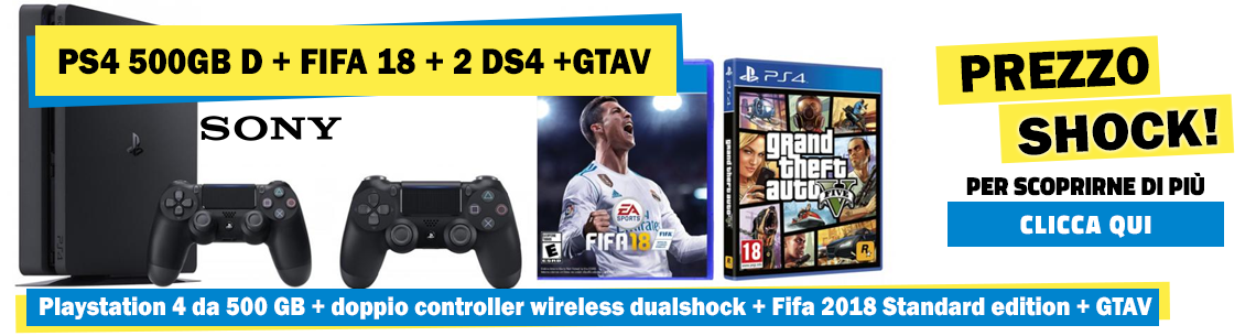 BUNDLE PS4+DOPPIO CONTROLLER WIRELESS+GTA+FIFA18
